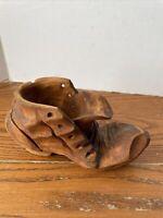 Wooden Shoe Planter Hand Carved Vintage Folk Art With Lace