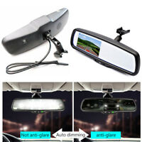 """Auto Dimming Rear View Mirror Built in 4.3"""" TFT LCD Monitor 2CH Video + Bracket"""