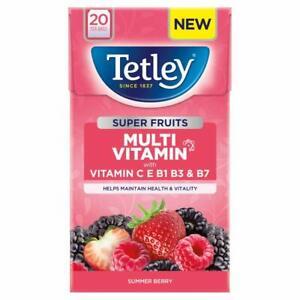 Tetley Super Fruits Multi Vitamin With Vitamin C,E Summer Berry Flavor 20 Bags