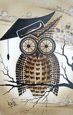 Sepia Tone Wise OWL Wall ART Print on Masonite Wooden Frame Signed Prid
