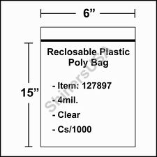 4 mil Reclosable Poly Bag 6x15 Clear Ziplock cs/1000 (127897)