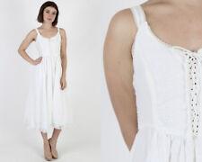 Vintage 70s Gunne Sax White Eyelet Floral Embroidered Boho Midi Mini Dress S