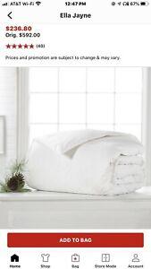 Ella Jayne 100%  Certifies RDS White Down Comforter. Retail $592. King/Cal King