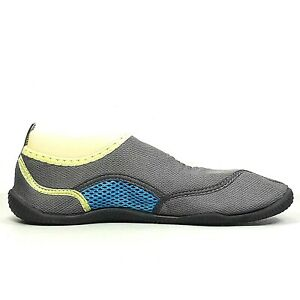 Body Glove Womens Gray Blue And Yellow Hook And Loop Water Shoes Size 9