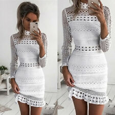 Womens Sexy Lace Bodycon Cocktail Ladies Party Pencil Midi Dress Bandage Dresses