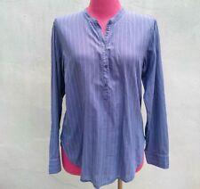 XiRINA Womens BLUE STRIP COTTON Tunic Poplin Pajama Style Popover Top Sz.S