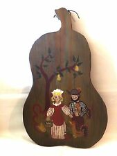 Vintage Hand Painted Couple with Chicken Wooden Pear Shape Kitchen Wall Hanging