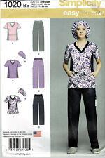 Simplicity #1020 Scrubs Pattern Plus Sizes 20-28W Doctor Nurse Med Tech Asst New