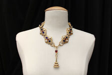 CHANEL 1990s Beautiful gold plated necklace with red/blue medallions and signet