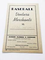 Authentic Rare Vintage Baseball Ventura Merchants Score Card Sports Memorabilia