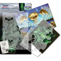 """Airbrushing stencil set step by step """"Flaming Skull"""" A4  (11.5*8 inch) template"""