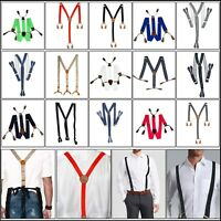 25mm Wide Adjustable Heavy Duty Suspender Braces Elasticated Button Hole Trouser