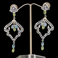 Natural Blue Sapphire Peridot Blue Topaz Dangler Earrings 925 Sterling Silver