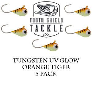 5 Pack UV Glow Tungsten Ice Fishing Jigs Crappie Perch Tear Drop 5m Orange Tiger