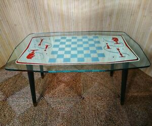 Fab Vintage Retro Kitsch MCM Glass Mirrored Chess Coffee Table Queen's Gambit
