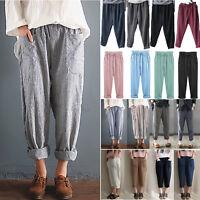 Women's Elastic High Waisted Baggy Cotton Linen Harem Pants Trousers Plus Size