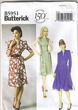 Easy Vintage 40s Retro Inspired Silhouette Dress Sewing Pattern Sz 8 10 12 14 16