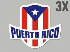 3 Puerto Rico shaped stickers flag crest decal car bike Sticker CN055