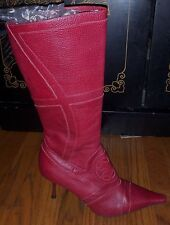NEW ESCADA Red Pebble Leather Heels Boots Size 40 EURO 9 OR 9.5 US