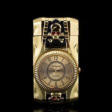 Multifunctional Skull Cigarette Lighter Gold Quartz Watch For Men