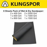 WET AND DRY SANDPAPER KLINGSPOR Sand Paper 400 600 800 1000 1500 2500 (8 sheets)