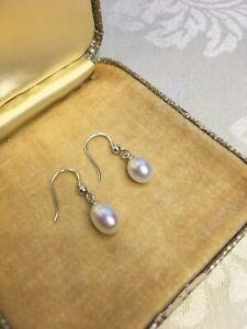 Real Teardrop Pearl Earrings Solid Silver Hooks