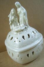 """Ceramic Baby Jesus Mary Joseph Jewel Box Heart Shape 5.5"""" Tall 3.5"""" Across"""