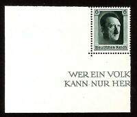 DR Nazi 3rd Reich Rare WW2 STAMP Hitler Head Fuhrer Block Birthday Swastika War