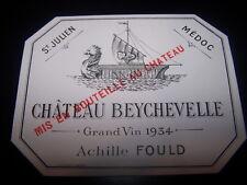 etiquette vin Chateau Beychevelle 1934 saint Julien wine label wein etikett