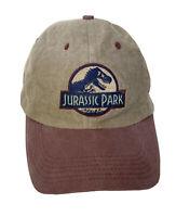 Jurassic Park Universal Studios Hat Cap Khaki Tan Burgundy Strapback
