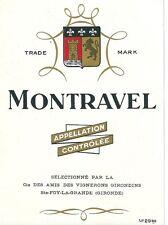 Etiquette de vin Montravel  wine Lion Blason Héraldique