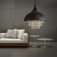 Rustic Industrial Crystal Pendant Light Loft Vintage Style Chandelier lamps Usa!