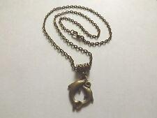 collier 51 cm avec pendentif deux dauphins couleur bronze