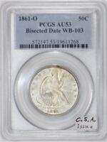 1861-O Seated Liberty Half Dollar PCGS AU-53; Bisected Date WB-103; C.S.A. Issue