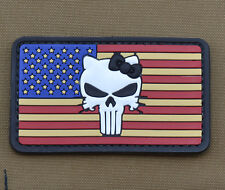 """PVC / Rubber Patch """"American / Usa Flag Kitty Punisher"""" with VELCRO® brand hook"""