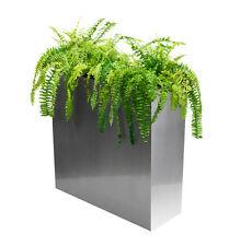 Silver Zinc Tall Planter w Insert Plant Pot Modern Trough Veg Garden Grow Box