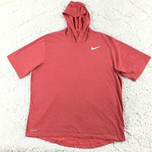 Nike Dri Fit Hooded Tee Short Sleeve Red Shirt Men's Size XXL 2XL Athletic Gym