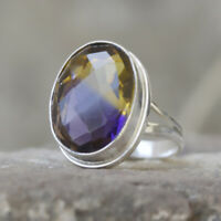 Oval Faceted Ametrine Gemstone 925 Sterling Silver Artisan Ring Jewelry