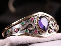 Turkish Handmade Jewelry Sterling Silver 925 Amethyst Bracelet Bangle Cuff
