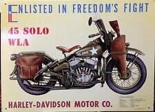 HARLEY DAVIDSON 45 SOLO WLA Tin Sign Garage Vtg Bar Wall Decor 30x40cm