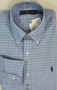 $125 Men Ralph Lauren Polo Pony Long Sleeves Plaid Dress Shirt 15 15.5 16 17 18