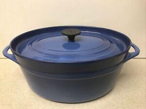 RARE Vintage Cousances Le Creuset Marseille Blue Oval 30 cm LARGE Casserole Pan