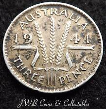 1941 GIORGIO VI Australia SILVER 3D Threepence MEDAGLIA.
