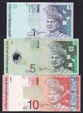 Set 3pcs Malaysia 1 5 10 Ringgit (2000-2004) P39 P46 P47 UNC