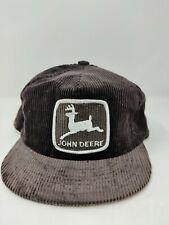 Vintage John Deere Black Corduroy Snapback Trucker Hat White Logo Cap Farmer USA