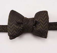 New $250 TOM FORD Dark Olive Woven Pattern Silk Bow Tie Bowtie Large Size