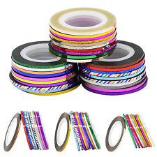 JZ_ 2mm Widened Striping Tape Line Sticker Nail Art UV Gel Tips Rolls 10Pcs Fa