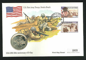 1994 50th Anniversary of D Day - Coin FDC - 5 Crown Coin & Grand Turk Pmk