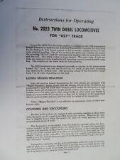 LIONEL -  INSTRUCTIONS  -    # 2023 TWIN DIESEL LOCOMOTIVES  (PHOTOCOPY)