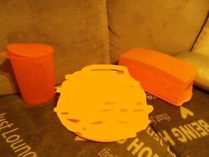 lot tupperware flash plat de service plateau gourmand  et pichet 1 L orange